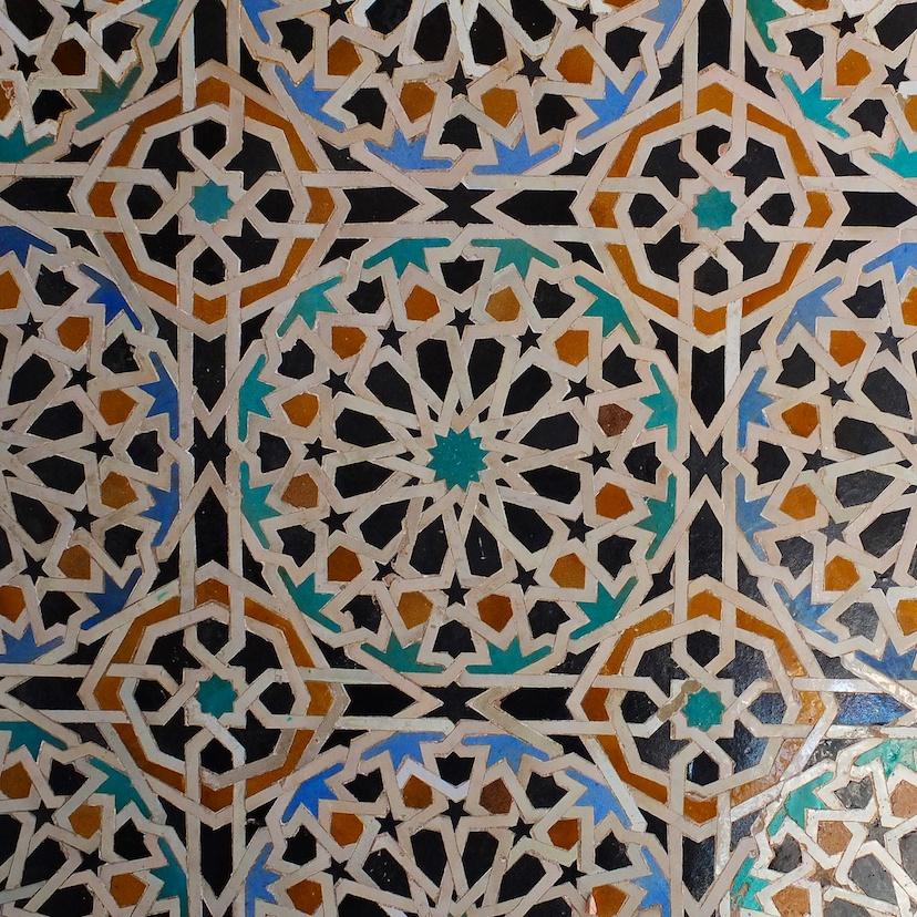 Fes  -  Medersa Bouinanie, Zelljie-Mosaik