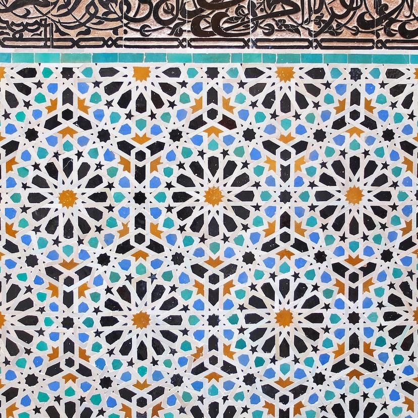 Fes  -  Medersa El Attarine, Zelljie-Mosaik
