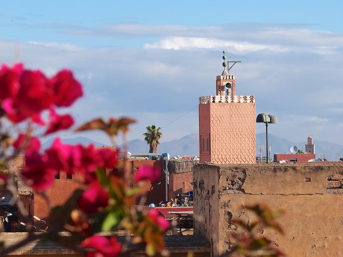 Marrakesch  -  Aussicht von der Dachterasse des Riad Aladdin